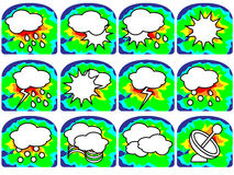 Pogodowe ikony - słońce z chmurami etc Obrazy Stock
