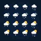 Pogodowe ikony s?o?ce i chmury w lata niebie, deszcz z ?niegiem w zimy niebie Płaska ilustracyjna ikony pogoda, meteorologia i royalty ilustracja