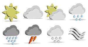 Pogodowe ikony ustawiać Obrazy Royalty Free