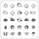 Pogodowe ikony ustawiać Zdjęcia Royalty Free