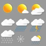 Pogodowe ikony. Wektorowa ilustracja. Obrazy Stock