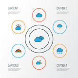 Pogodowe Kolorowe kontur ikony Ustawiać Kolekcja Chmurzący pogody, Cloudburst, Chmurniejących I Innego elementy, także Fotografia Stock