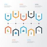 Pogodowe Kolorowe kontur ikony Ustawiać Kolekcja burza Obraz Stock