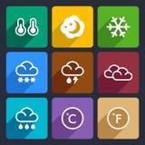 Pogodowe płaskie ikony ustawiają 28 Obrazy Royalty Free