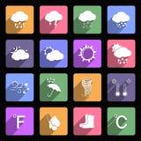 Pogodowe płaskie ikony Obrazy Royalty Free