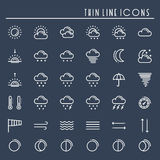 Pogodowe paczki linii ikony ustawiać meteorologia Prognoza pogody projekta modni elementy Szablon dla wiszącej ozdoby app, sieć i Obraz Royalty Free