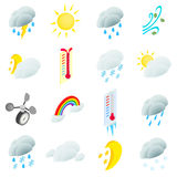 Pogodowe ustalone ikony ilustracja wektor