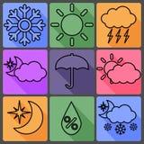 Pogodowe Wektorowe ikony na Barwionym tle, z royalty ilustracja