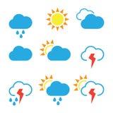Pogodowe widgets szablonu ikony dla obliczać sieć Obraz Royalty Free