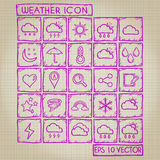 Pogodowy ikony Doodle set Zdjęcia Royalty Free