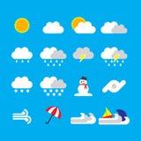 Pogodowy ikony mieszkania styl na błękitnym tle Obrazy Royalty Free