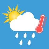 Pogodowy symbol gorący i podeszczowy Obrazy Stock