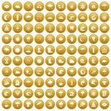 100 pogodowych ikon ustawiający złoto royalty ilustracja