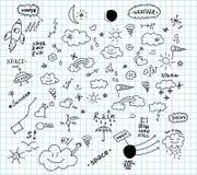 Pogody i przestrzeni ręki rysujący doodles Obrazy Stock