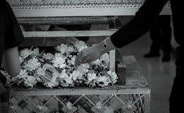 Pogrzeb w Tajlandia Ludzie stawiaj? sanda?owa kwiatu p?aci? definitywnego uznanie denat Tajlandzcy Buddyjscy pogrzeby Drewniana k zdjęcie royalty free
