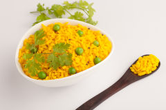 Poha - A breakfast snack made of beaten rice Stock Image