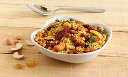 Poha chivda Indian Snack with Flattened Rice as Main Ingredient royalty free stock photography
