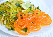 Poha Jalebi. Indian snack Poha with Indian Sweet Jalebi Stock Photos