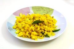 Poha, un article populaire de petit déjeuner dans l'Inde Photo stock