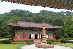 Pohyonsa buddhist temple, North Korea. Pohyon-sa is a Korean Buddhist temple located in Hyangsan county in North Pyong'an Province, North Korea. It is located Stock Photos