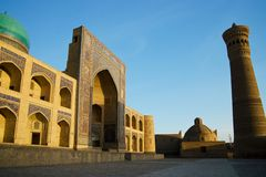 Poi Kalon Mosque Complex in Bukhara Stock Images