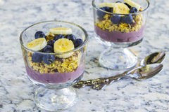 Poi Parfait. Hawaiian parfait with layers of poi, granola, blueberries, bananas and drizzled with agave Stock Photography