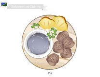 Poi or Traditional Solomonian Soup or Solomonian Porridge. Solomonian Cuisine, Poi or Traditional Taro Porridge Made with Fermented Taro Roots Served with Roast Stock Photos