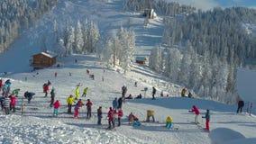 Poiana Brasov winter ski resort stock video footage