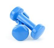 Poids bleus d'haltère Photo libre de droits