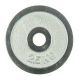 2 poids de barbell de 5 kilogrammes d'isolement sur le fond blanc Photo stock