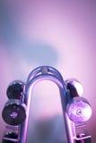 Poids de Dumbell dans le gymnase de forme physique Photo stock