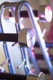 Poids de Dumbell dans le gymnase de forme physique Photographie stock
