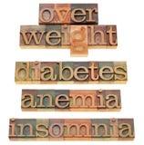 Poids excessif, diabète, anémie, insomnie Photo stock