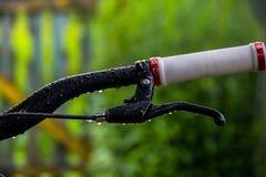 Poignée de bicyclette après pluie Images libres de droits