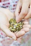 Poignée de consommation de femme de graines saines image stock