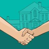 Poignée de main avec la maison
