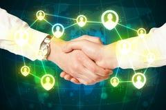 Poignée de main, concept social de netwok Photo libre de droits
