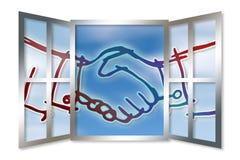 Poignée de main contre une fenêtre ouverte - image de concept Photographie stock libre de droits