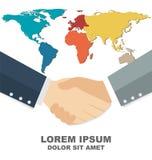 Poignée de main d'affaires avec la carte du monde à l'arrière-plan, affaires globales Photos stock