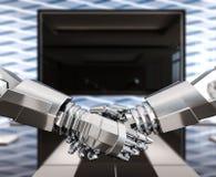 Poignée de main d'affaires de humanoïdes, confiance et association, concept illustration de vecteur