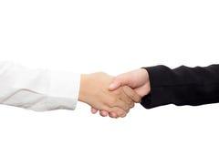 Poignée de main d'homme d'affaires et femme d'affaires après réussi photographie stock libre de droits