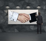 Poignée de main de dessin d'homme d'affaires Image stock
