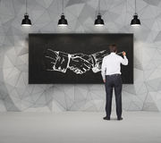 Poignée de main de dessin d'homme d'affaires Photo stock