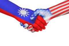 Poignée de main entre les Etats-Unis d'Amérique et Taïwan Photo stock