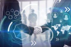 Poignée de main et cyberespace d'hommes d'affaires Photos libres de droits