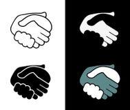 Poignée de main noire d'icône. fond Image libre de droits