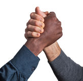 Poignée de main noire et blanche d'homme Photographie stock libre de droits