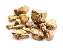 Poignée de pépites d'or en gros plan Photo libre de droits