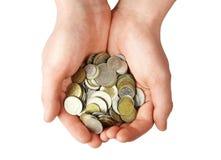 Poignée de pièces de monnaie Images libres de droits