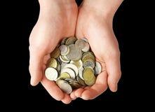 Poignée de pièces de monnaie Photos libres de droits